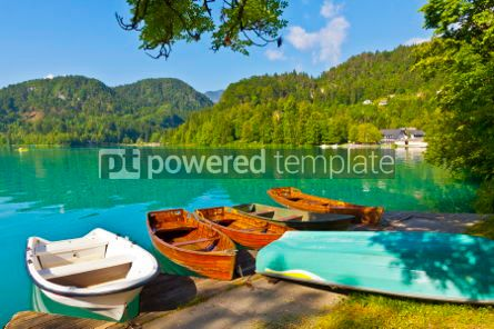 Transportation: Landscape with boats at the pier of Bled Lake Slovenia #05582