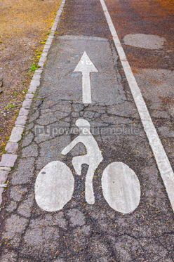 Transportation: Bicycle road sign and arrow on asphalt #05584