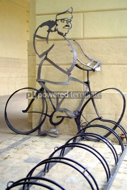 Transportation: Bicycle parking and Schweik monument in front of Lviv City Hall #05585
