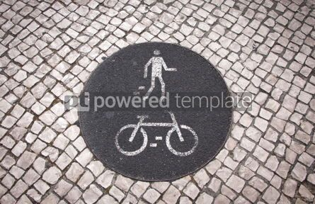 Transportation: Bicycle and pedestrian lane road sign #05593