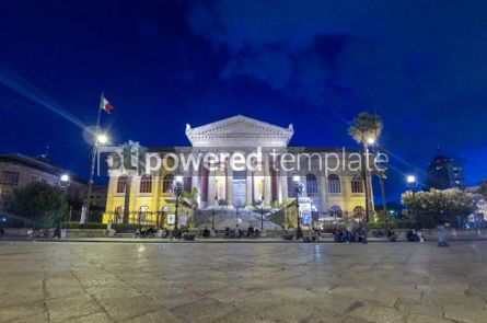 Architecture : Night view of Teatro Massimo in Palermo Sicily Italy #05609