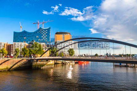 Architecture : Speicherstadt district with Elbphilharmonie building in Hamburg #05620