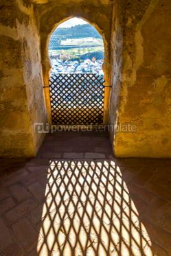 Architecture: Shadow of metal window grid on a floor of the room #05653