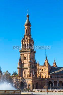 Architecture : Plaza de Espana (Spain Square) in Seville Andalusia Spain #05654