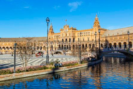 Architecture : Plaza de Espana (Spain Square) in Seville Andalusia Spain #05656