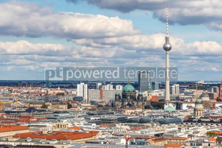 Architecture : Aerial view of Berlin skyline with famous TV tower and Berliner  #05677