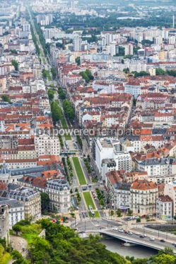 Architecture : Panoramic aerial view of Grenoble city France #05680