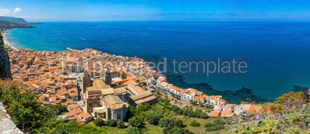 Architecture : Panoramic aerial view of Cefalu old town Sicily Italy #05687