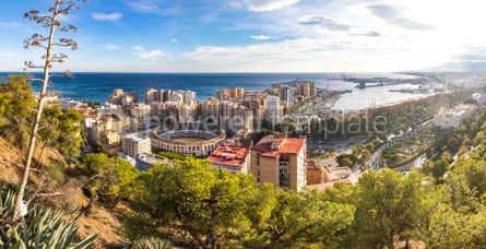 Architecture : Panoramic skyline aerial view of Malaga Andalusia Spain #05689