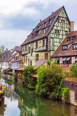 Architecture : Beautiful view of historic town of Colmar Alsace region France #05698