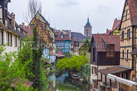 Architecture : Beautiful view of historic town of Colmar Alsace region France #05700