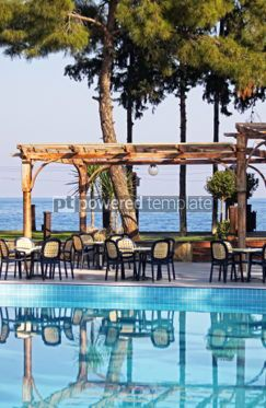 Architecture: Outdoor hotel restaurant at Mediterranean resort #05702