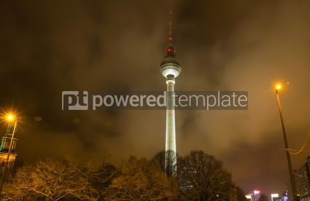 Architecture : Berlin TV tower shrouded in clouds at night Germany #05715