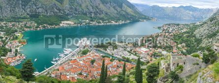 Nature: Panoramic view of Kotor Bay and Kotor town Montenegro #05733