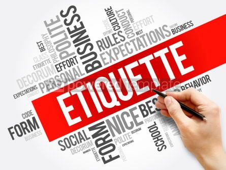 Business: Etiquette word cloud collage social business concept on blackbo #05910