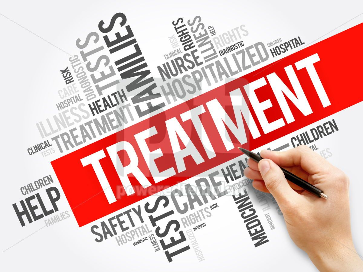 Treatment word cloud collage health concept background, 05921, Business — PoweredTemplate.com