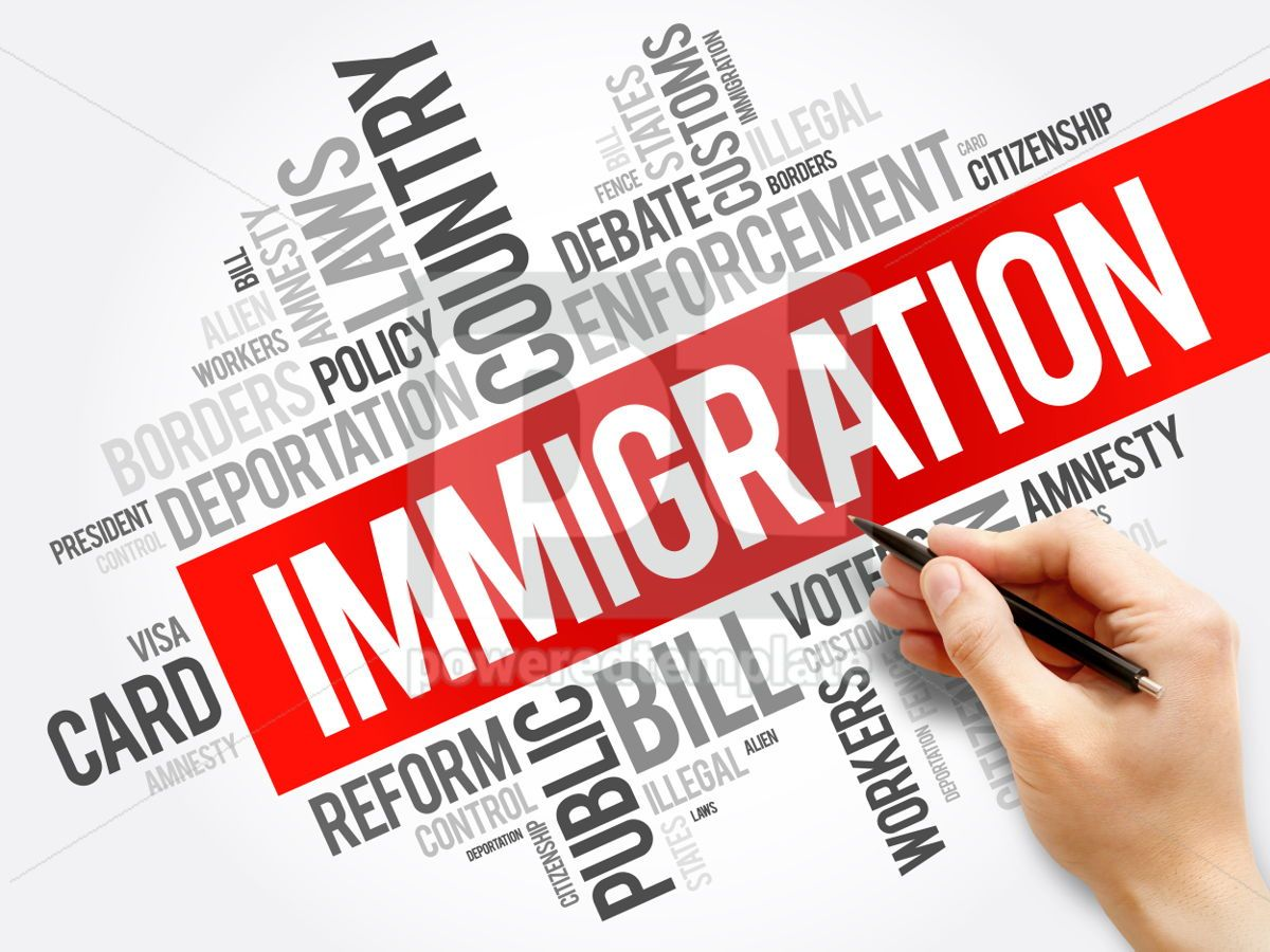Immigration word cloud collage  social concept background, 05928, Business — PoweredTemplate.com