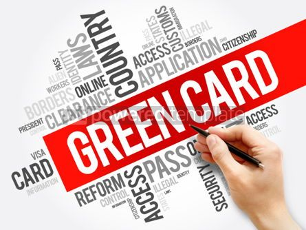 Business: Green card word cloud collage immigration concept background #05935