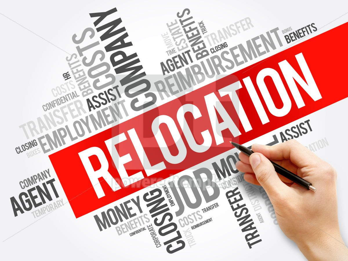 Relocation word cloud collage business concept background, 05939, Business — PoweredTemplate.com