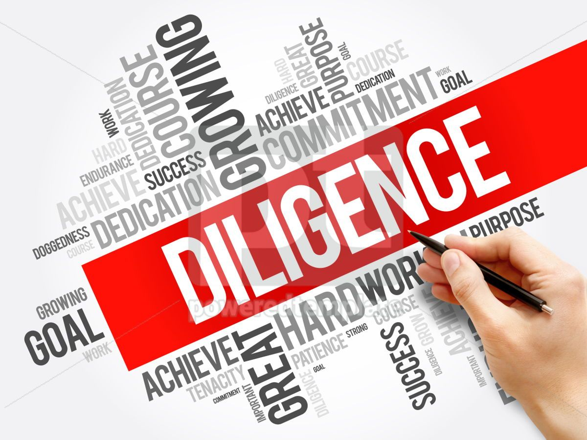 Diligence word cloud collage business concept background, 05941, Business — PoweredTemplate.com