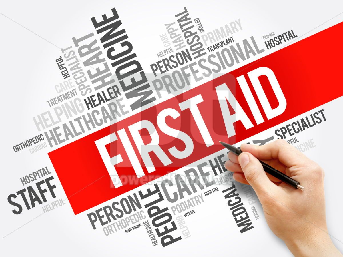 First aid word cloud collage healthcare concept background, 05948, Business — PoweredTemplate.com