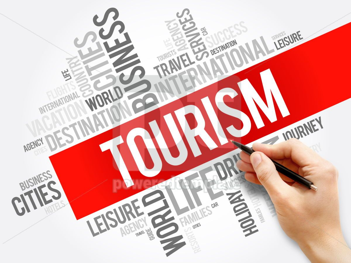 Tourism word cloud collage travel concept background, 05955, Business — PoweredTemplate.com