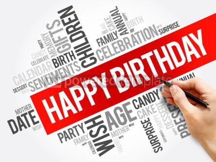 Business: Happy Birthday word cloud collage holiday concept background #05989