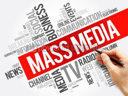 Business: Mass media word cloud collage technology business concept backg #06013