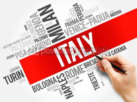 Business: List of cities in Italy word cloud collage travel concept back #06022