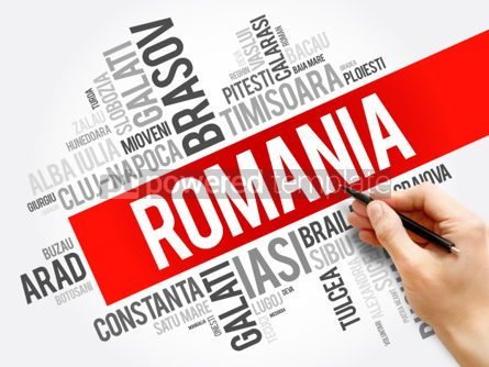 Business: List of cities in Romania word cloud collage business and trave #06036