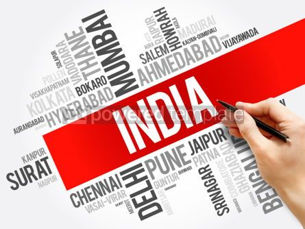 Business: List of cities in India word cloud collage business and travel  #06041