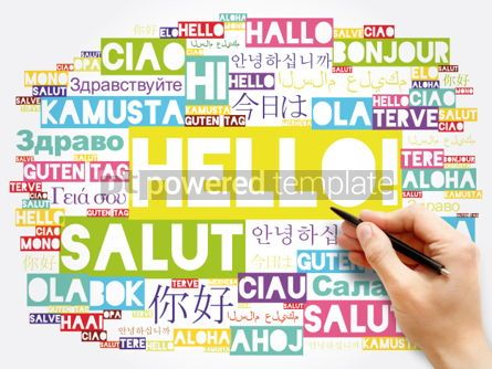 Business: Hello word cloud in different languages of the world background #06043