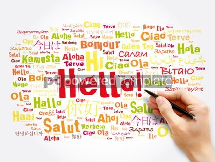 Business: Hello word cloud in different languages of the world background #06044