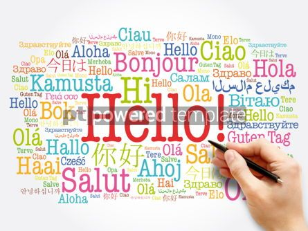 Business: Hello word cloud in different languages of the world background #06045