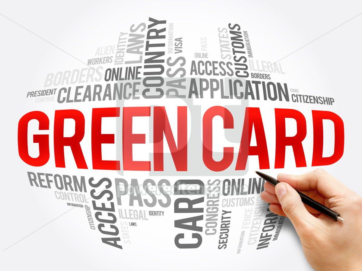 Green card word cloud collage, 06073, Business — PoweredTemplate.com