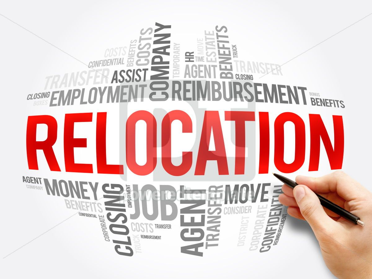 Relocation word cloud collage, 06100, Business — PoweredTemplate.com