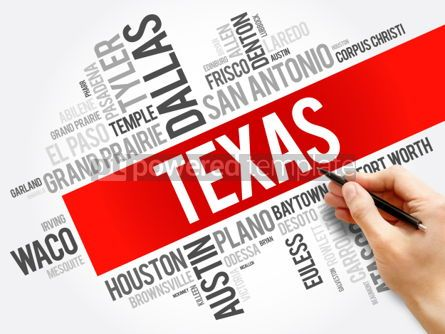 Business: List of cities in Texas USA state word cloud #06192