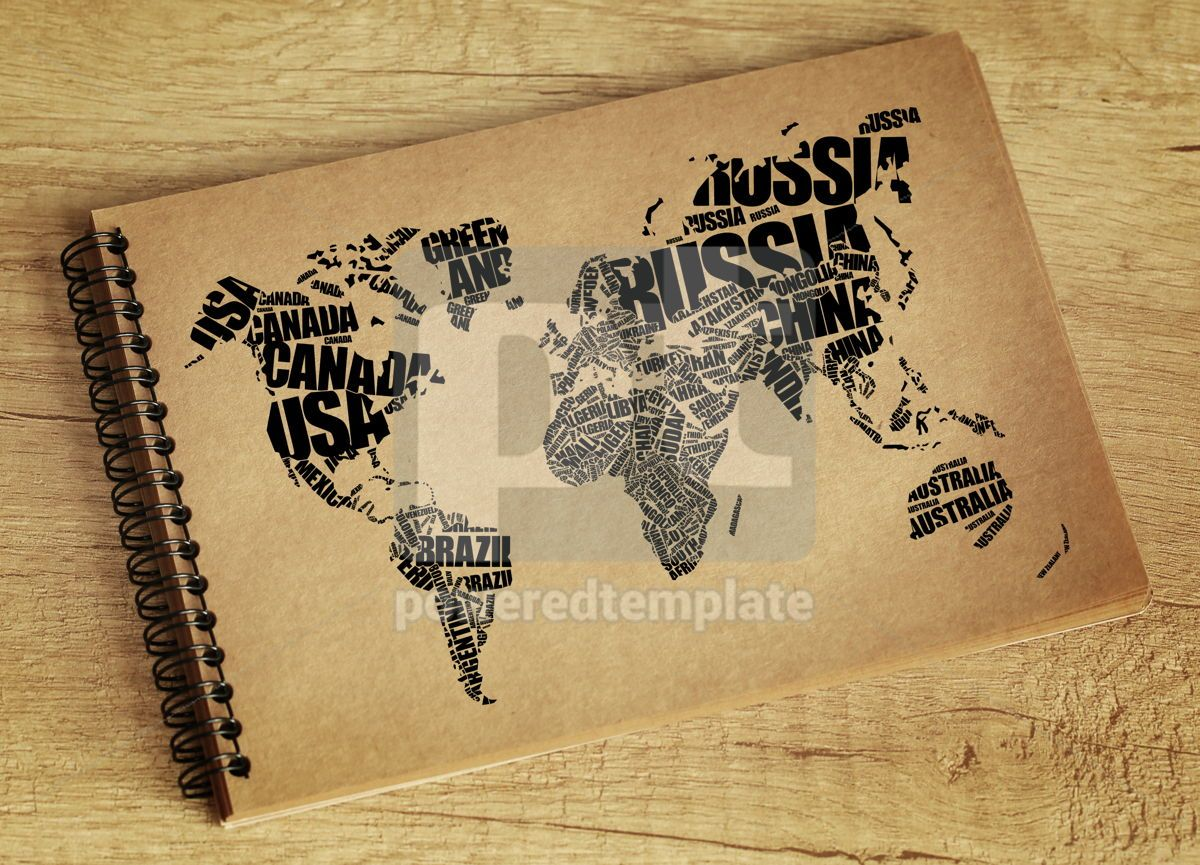 World Map in Typography word cloud concept, 06296, Business — PoweredTemplate.com