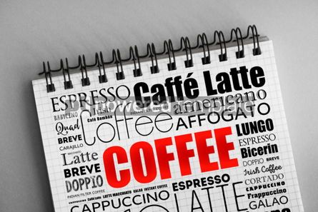 Business: List of coffee drinks words cloud collage #06316