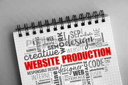 Business: Website production process word cloud #06329