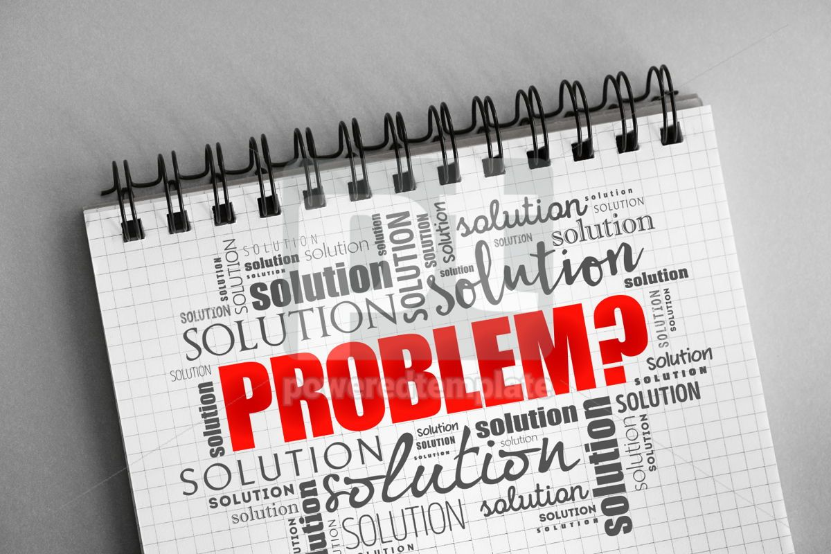Problem and solution word cloud collage, 06335, Business — PoweredTemplate.com