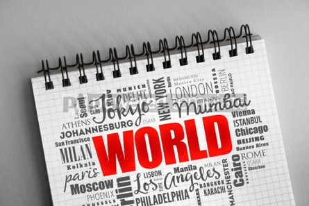 Business: WORLD word cloud business concept background #06338