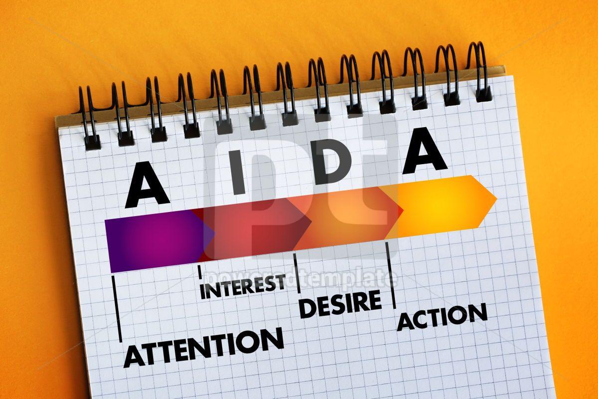 AIDA (marketing) acronym business concept, 06386, Business — PoweredTemplate.com