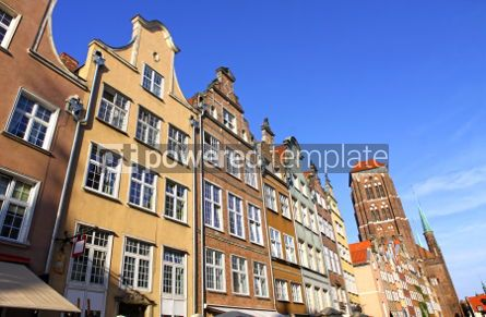Architecture : Colourful old buildings in City of Gdansk Poland #06848