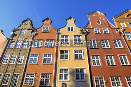 Architecture : Colourful old buildings in City of Gdansk Poland #06849