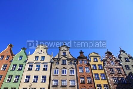 Architecture : Colourful old buildings in City of Gdansk Poland #06850