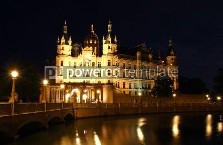Architecture : Schwerin Castle (Schweriner Schloss) at night Germany #06856