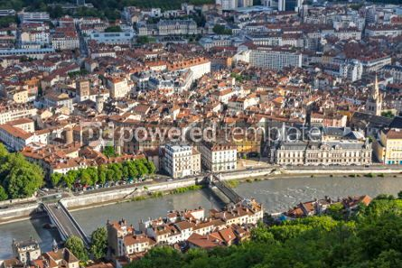 Architecture : Aerial view of Grenoble old town France #06894