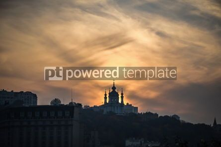 Architecture : Sunset over Saint Andrew's church in Kyiv Ukraine #06904