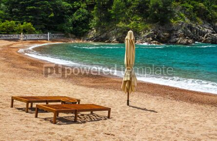 Nature: Empty beach with two chairs Queen's Beach Montenegro #06959